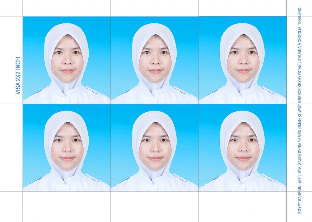 Visa photo 2x2inch blue or white background studio